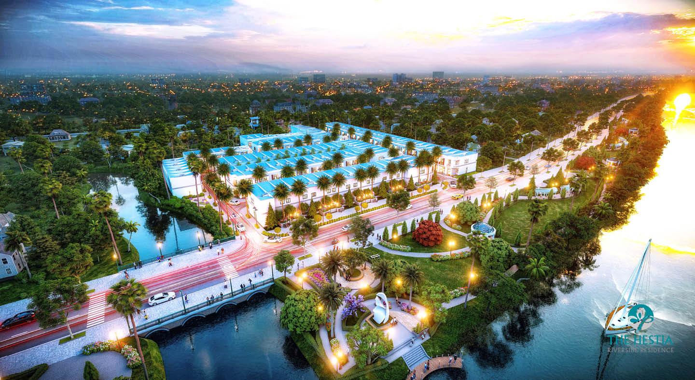 Phối cảnh tổng thể dự án The Hestia Riverside Residence tại Tân An, Long An