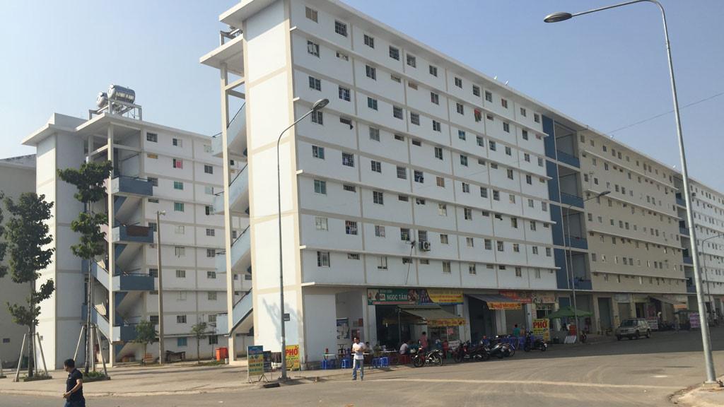 dự án nhà ở xã hội gồm 2 tòa nhà cao tầng, tầng 1 có khu ăn uống