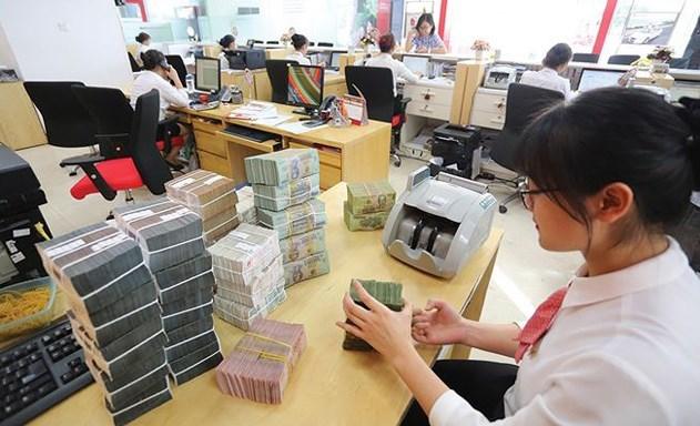 nhân viên ngân hàng kiểm đếm nhiều tập tiền mặt để trên bàn