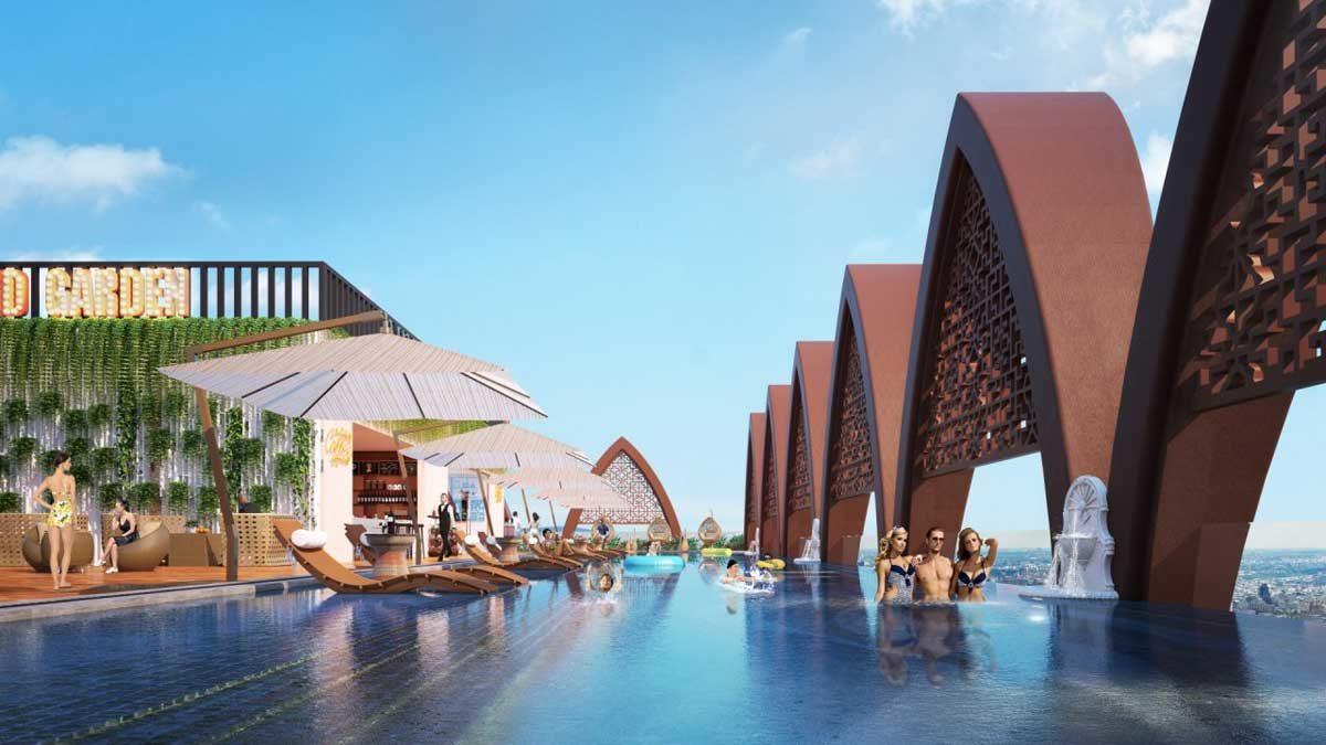 Hồ bơi panorama view biển căn hộ Apec Mandala Grand Phú Yên