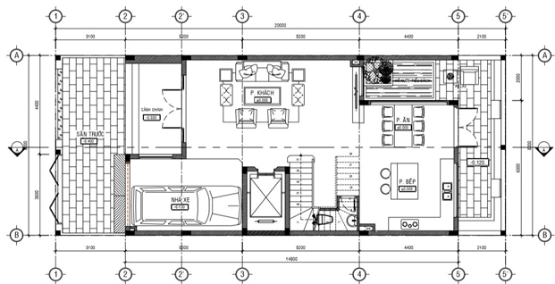 mặt bằng nhà thể hiện vị trí lắp đặt thang máy gia đình