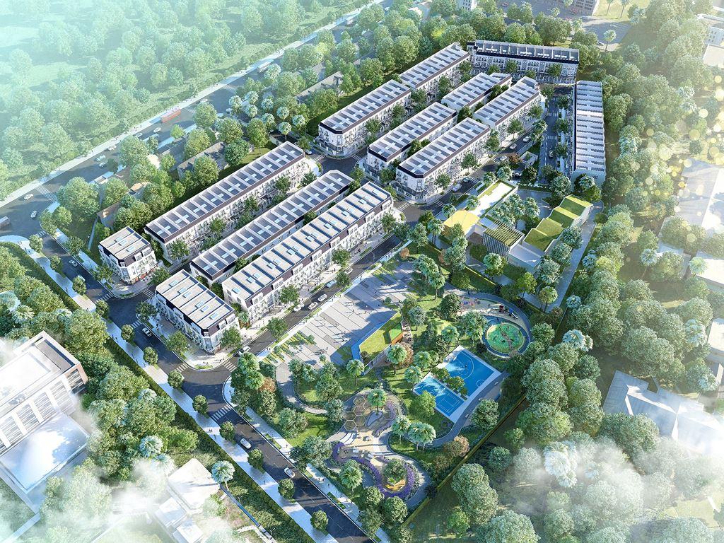 Phối cảnh dự án nhà ở có nhiều nhà ở và cây xanh xung quanh