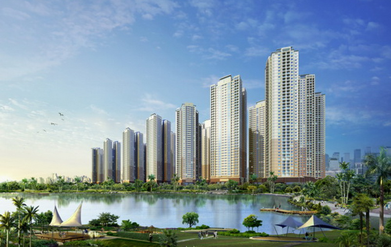Trong hình là những tòa chung cư cao cấp nằm bên một dòng sông