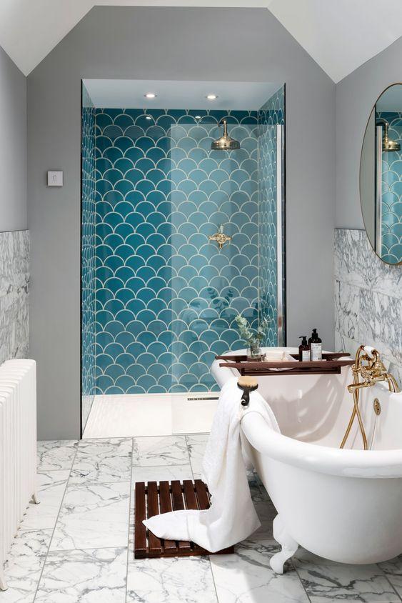 tường phòng tắm ốp gạch mosaic