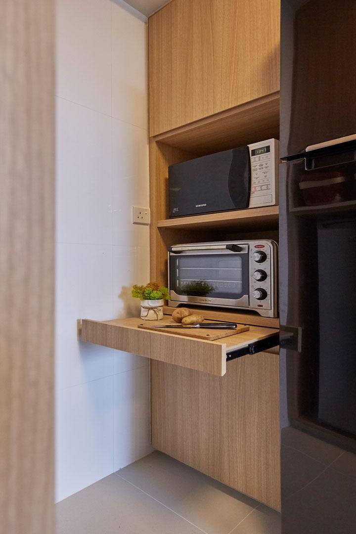 bàn bếp âm tủ khi được kéo ra