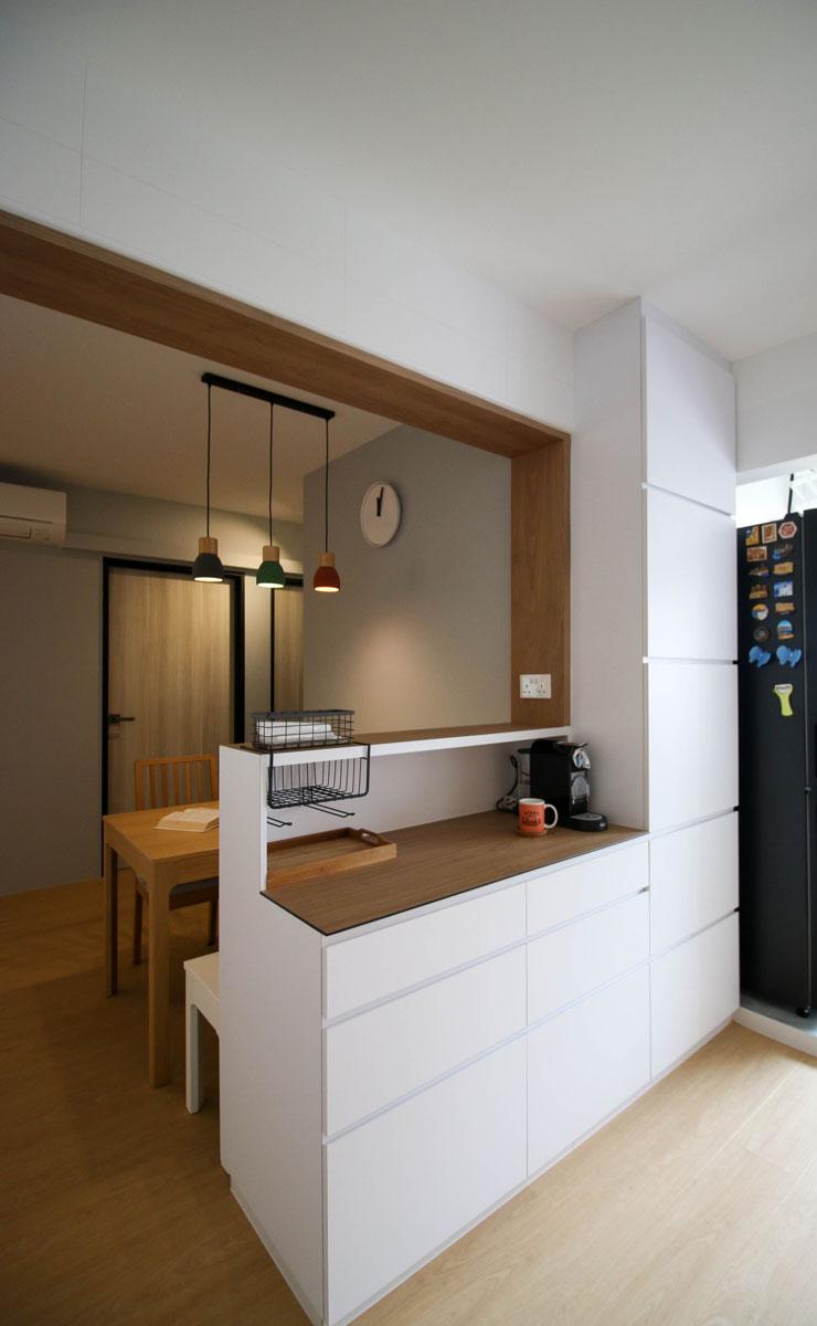 tủ quầy bar 2 tầng trong bếp