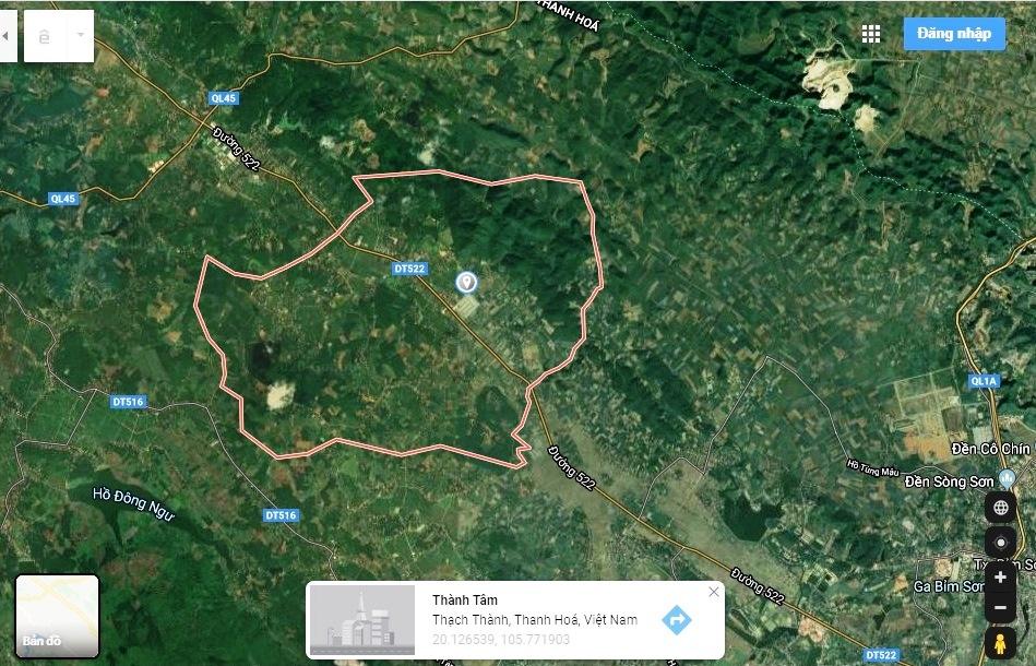 hình ảnh google map chụp địa bàn xã Thành Tâm, huyện Thạch Thành
