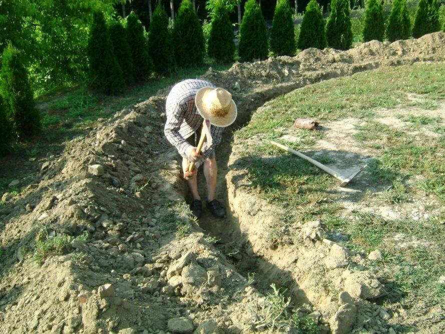 người đàn ông đang đào đất