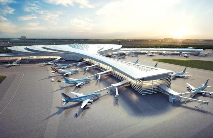 Sân Long Thành có nhiều máy bay đang đậu