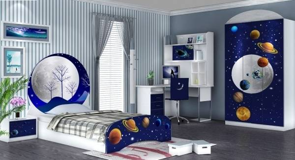 phòng ngủ bé trai thiết kế theo chủ đề vũ trụ