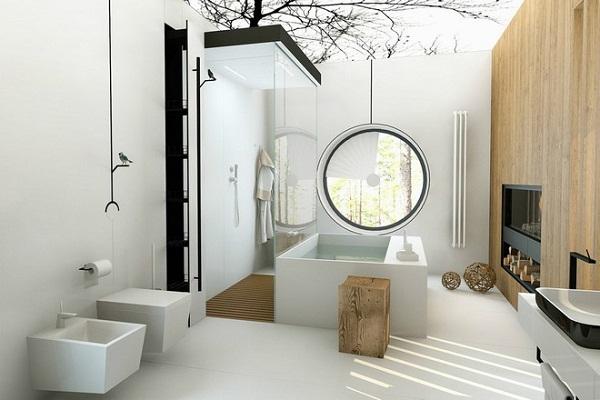 phòng tắm hiện đại với gam màu trắng và gỗ