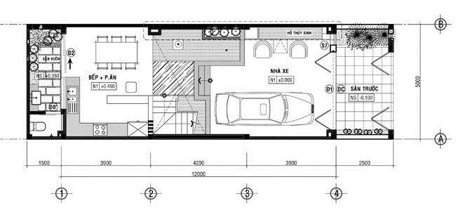 bản vẽ mặt bằng tầng trệt nhà ống 1 trệt 2 lầu có sân thượng