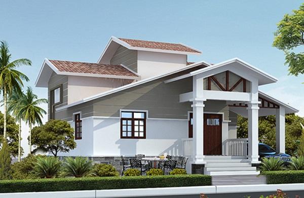 Phối cảnh 3D một căn biệt thự mái thái, xung quanh có nhiều cây cối.