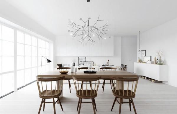 phòng ăn phong cách Bắc Âu với gam màu trắng chủ đạo và nội thất gỗ