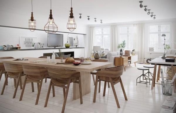 bộ bàn ghế ăn bằng gỗ trong phòng ăn phong cách Bắc Âu