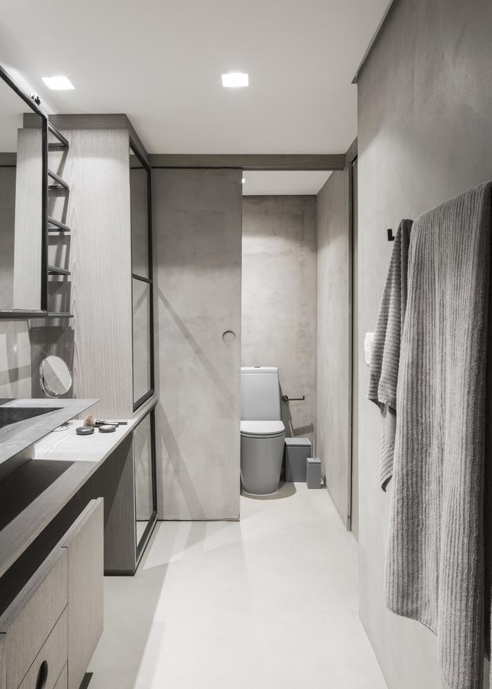 phòng tắm màu trung tính
