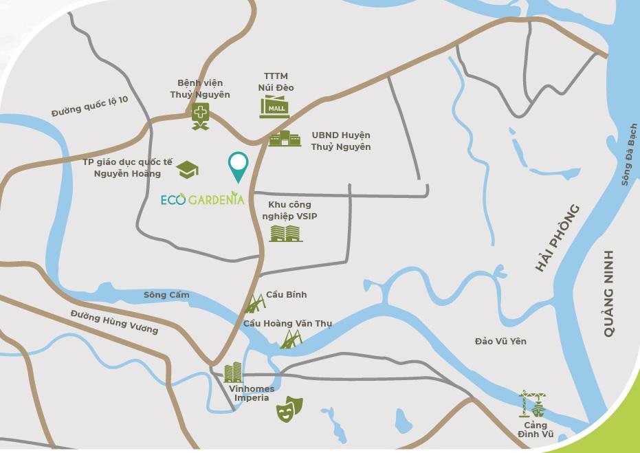 Vị trí dự án Eco Gardenia trên bản đồ