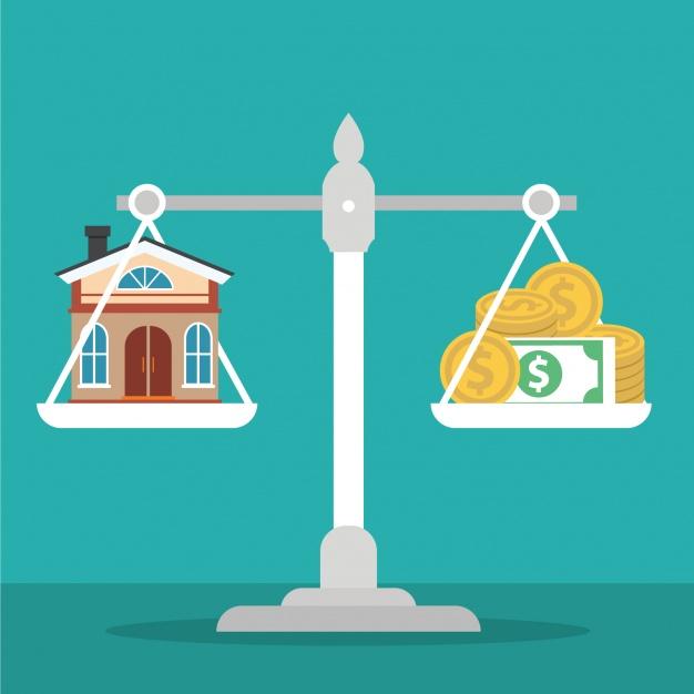 một cán cân, một bên cán cân là ngôi nhà, một bên là tiền đô
