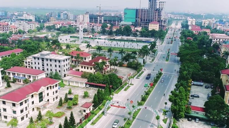 Một góc tỉnh Bắc Ninh nhìn từ trên cao có đường lớn và nhiều công trình nhà ở