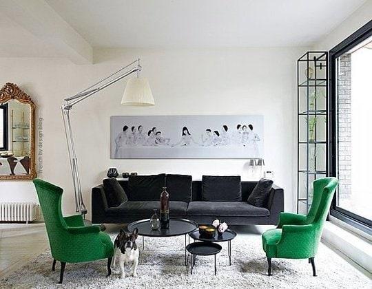 ghế tựa xanh lá và sofa đen