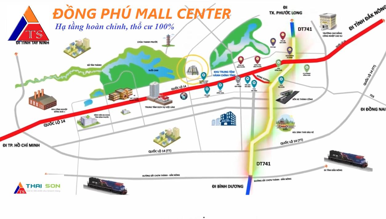 Vị trí dự án Đồng Phú Mall Center trên bản đồ