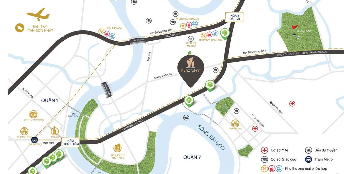 Vị trí dự án Căn hộ Sài Gòn Broadway trên bản đồ