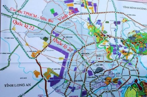 sơ đồ hướng tuyến cao tốc TP.HCM - Mộc Bài