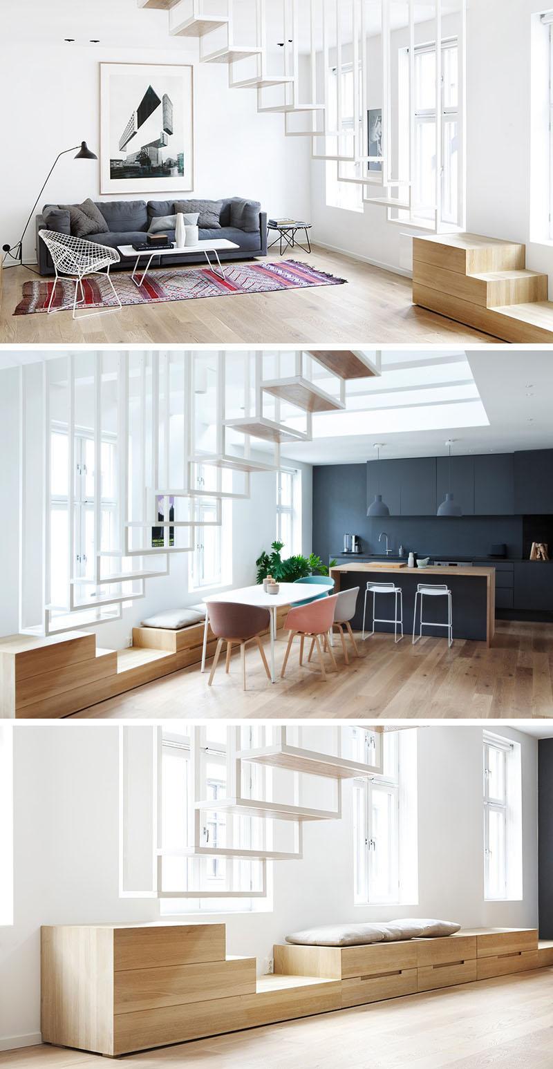 cầu thang thép màu trắng gắn trần