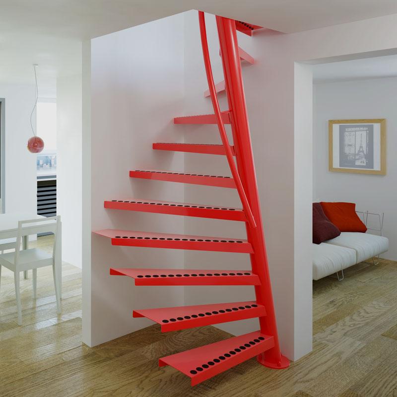 cầu thang thép xoắn ốc màu đỏ