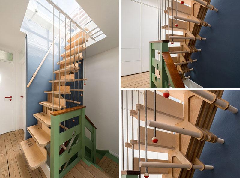 cầu thang làm từ mảnh gỗ ép