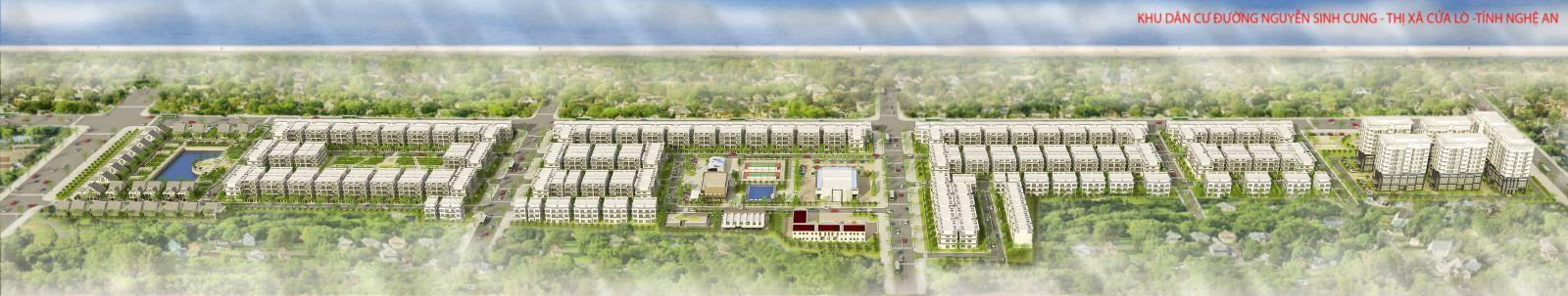 Phối cảnh tổng thể dự án Khu đô thị Nguyễn Sinh Cung tại TX. Cửa Lò, Nghệ An
