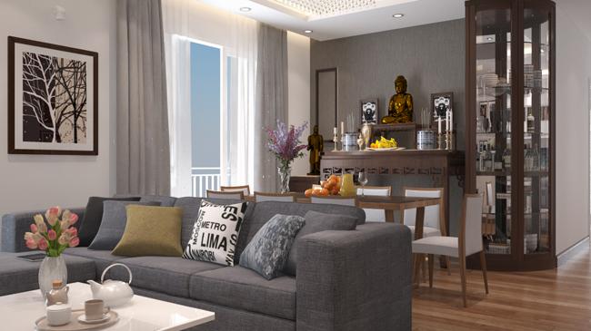 Căn hộ chung cư có bàn thờ Phật bố trí phía sau sofa phòng khách.
