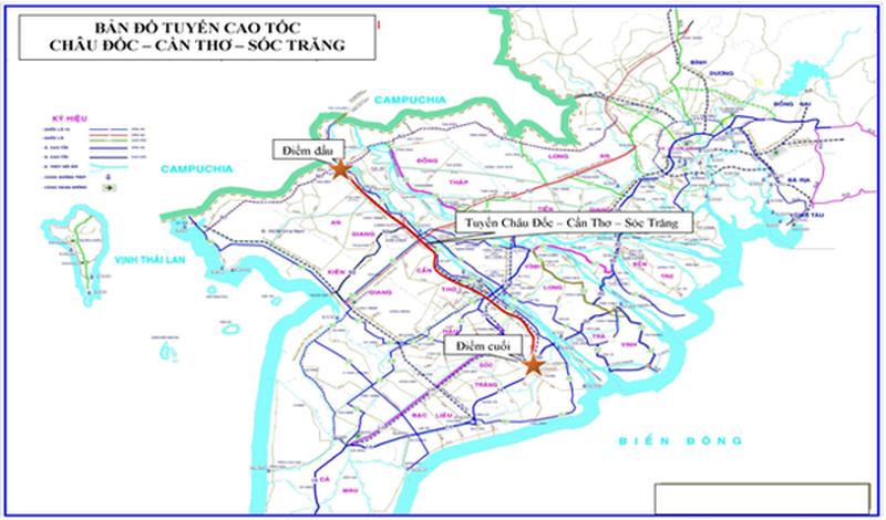 sơ đồ hướng tuyến cao tốc Châu Đốc - Sóc Trăng
