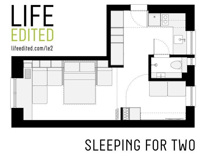 mặt bằng bố trí căn hộ có 2 chỗ ngủ