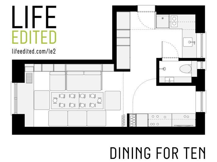 mặt bằng bố trí căn hộ có 10 chỗ ngồi ăn uống