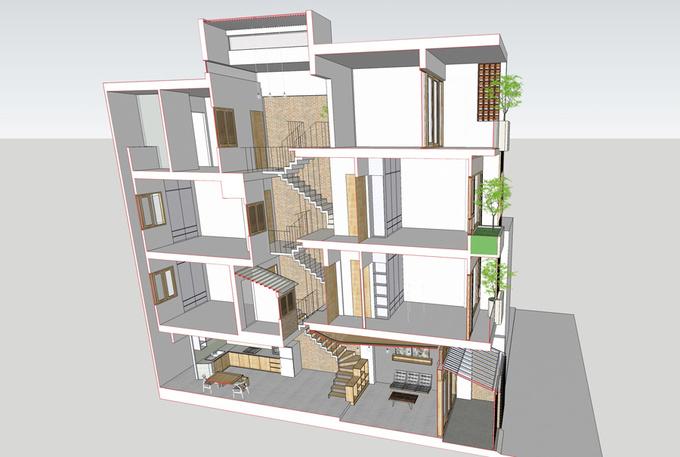 mặt cắt 3D nhà ống 4 tầng