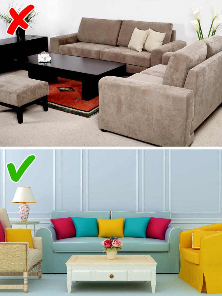 phòng khách sử dụng sofa theo bộ và không theo bộ