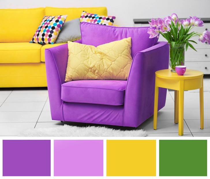 sofa vàng kết hợp cùng ghế bành tím