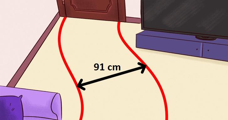 khoảng cách 91cm giữa hai món nội thất