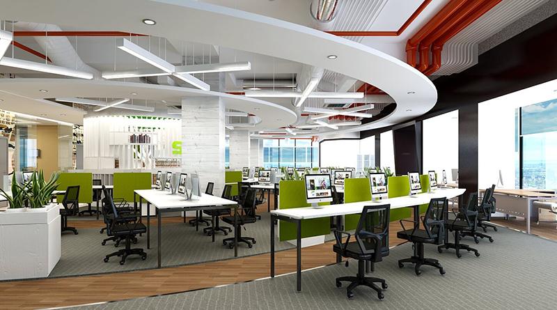 văn phòng làm việc với nhiều cây xanh xung quanh