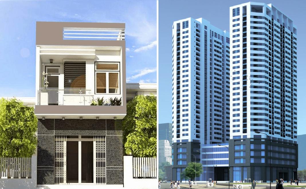 một ngôi nhà và một tòa nhà chung cư