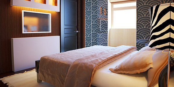 phòng ngủ với tường dán giấy
