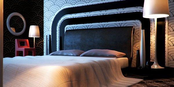 phòng ngủ buổi tối với ánh đèn ấm áp