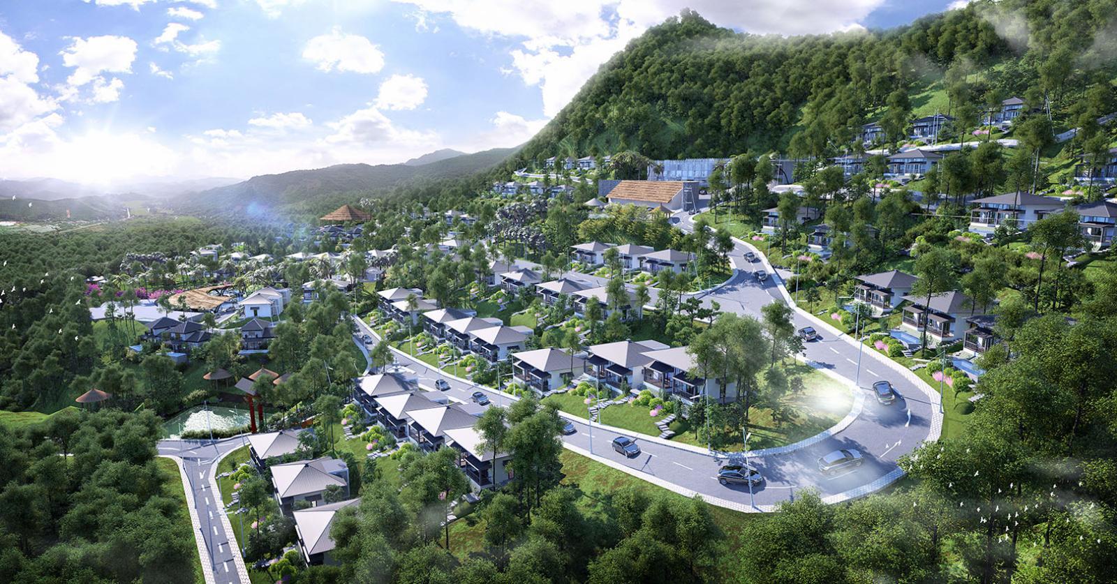 Phối cảnh tổng thể dự án Onsen Villas & Resort Hòa Bình tại Kỳ Sơn, Hòa Bình
