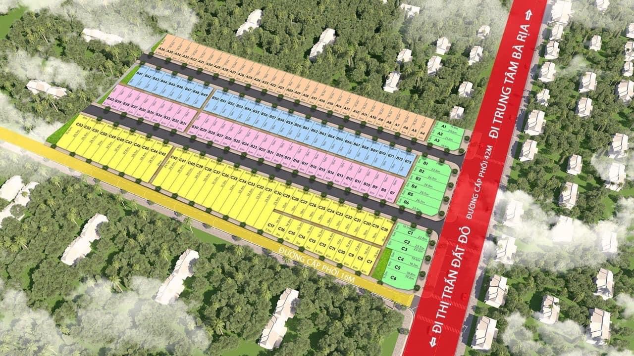 Sơ đồ quy hoạch tổng thể dự án Khu dân cư 2.6ha Đất Đỏ tại thị trấn Đất Đỏ, tỉnh Bà Rịa Vũng Tàu