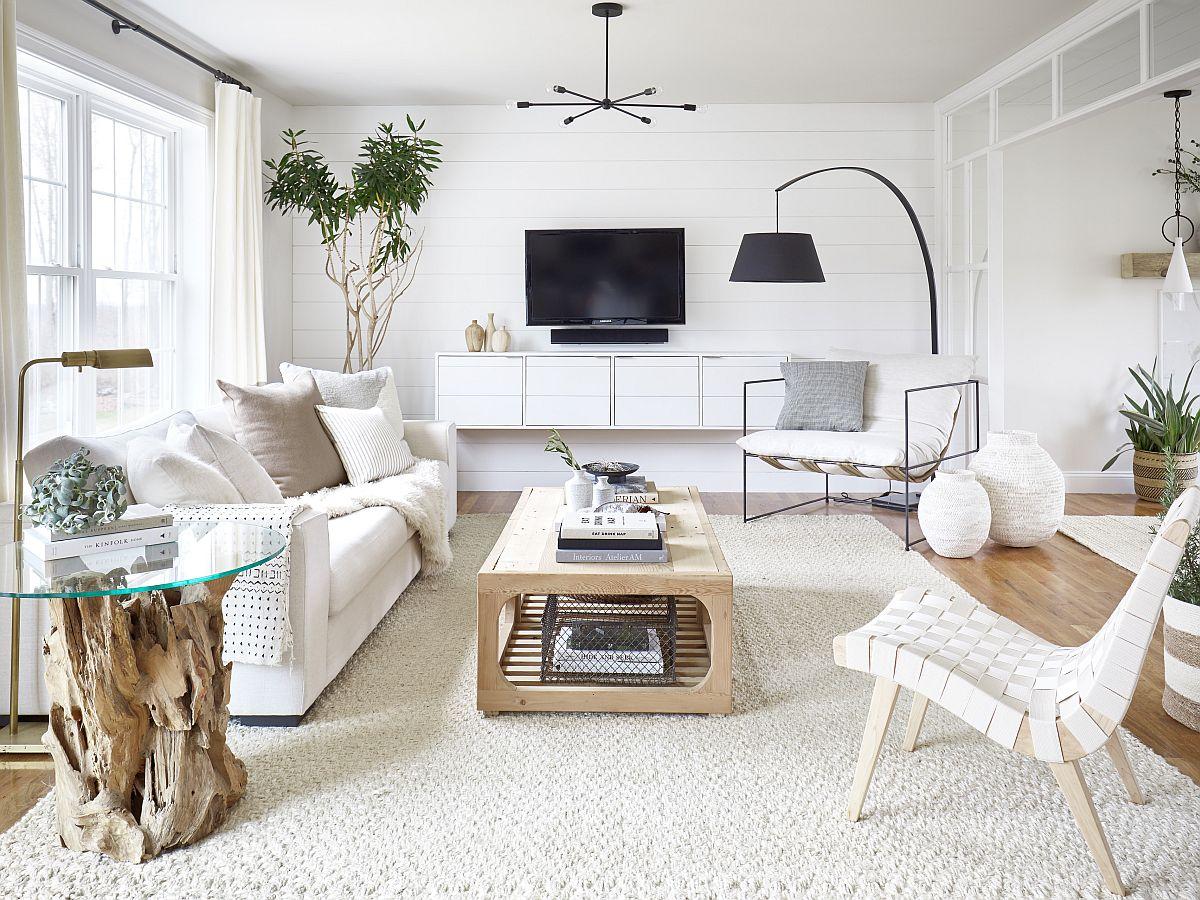 phòng khách nhỏ màu trắng