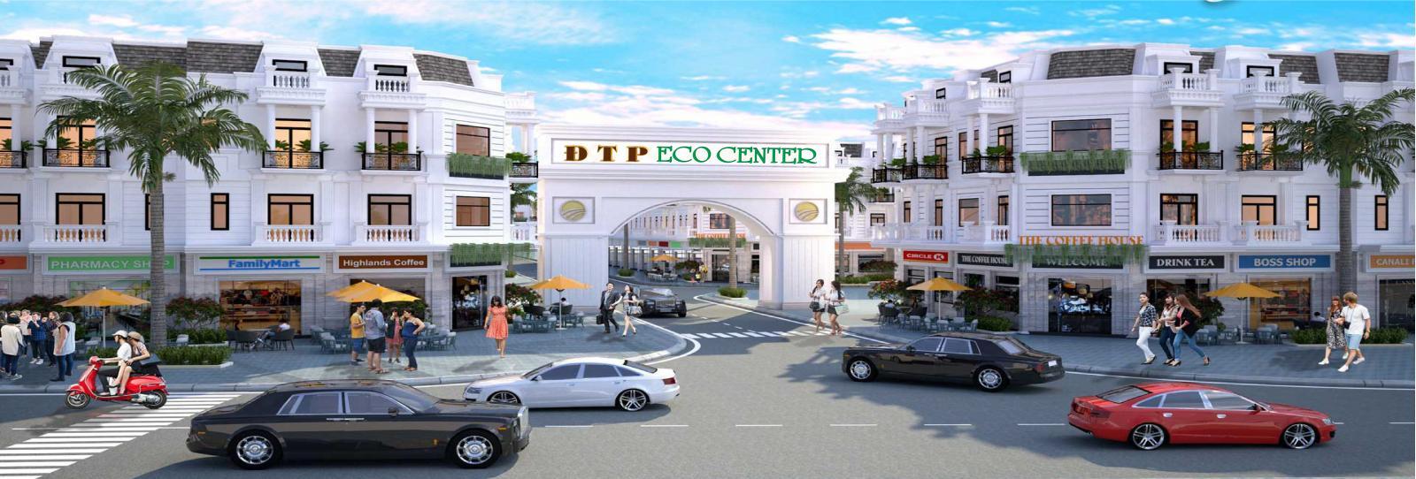 Phối cảnh cổng chào và khu nhà phố tại dự án ĐTP Eco Center