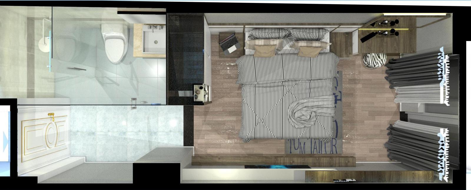 mặt bằng bố trí tầng 2 có phòng ngủ