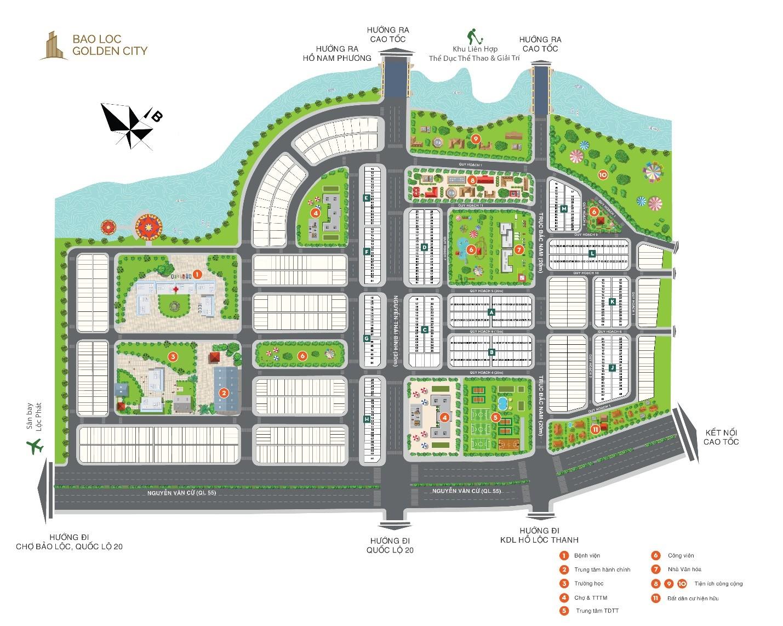 Bản đồ phân lô dự án Bảo Lộc Golden City