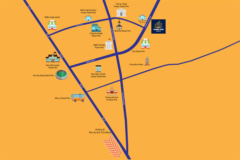 Vị trí dự án Thạnh Phú Center trên bản đồ